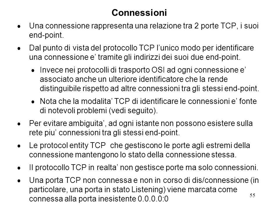 Connessioni Una connessione rappresenta una relazione tra 2 porte TCP, i suoi end-point.