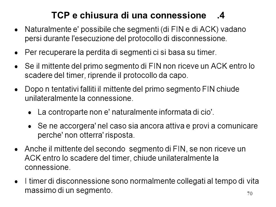 TCP e chiusura di una connessione .4