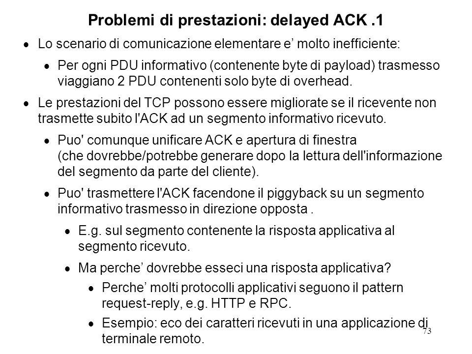 Problemi di prestazioni: delayed ACK .1