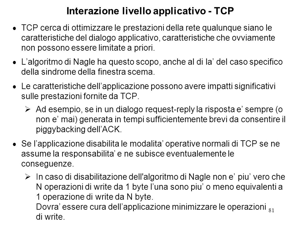 Interazione livello applicativo - TCP