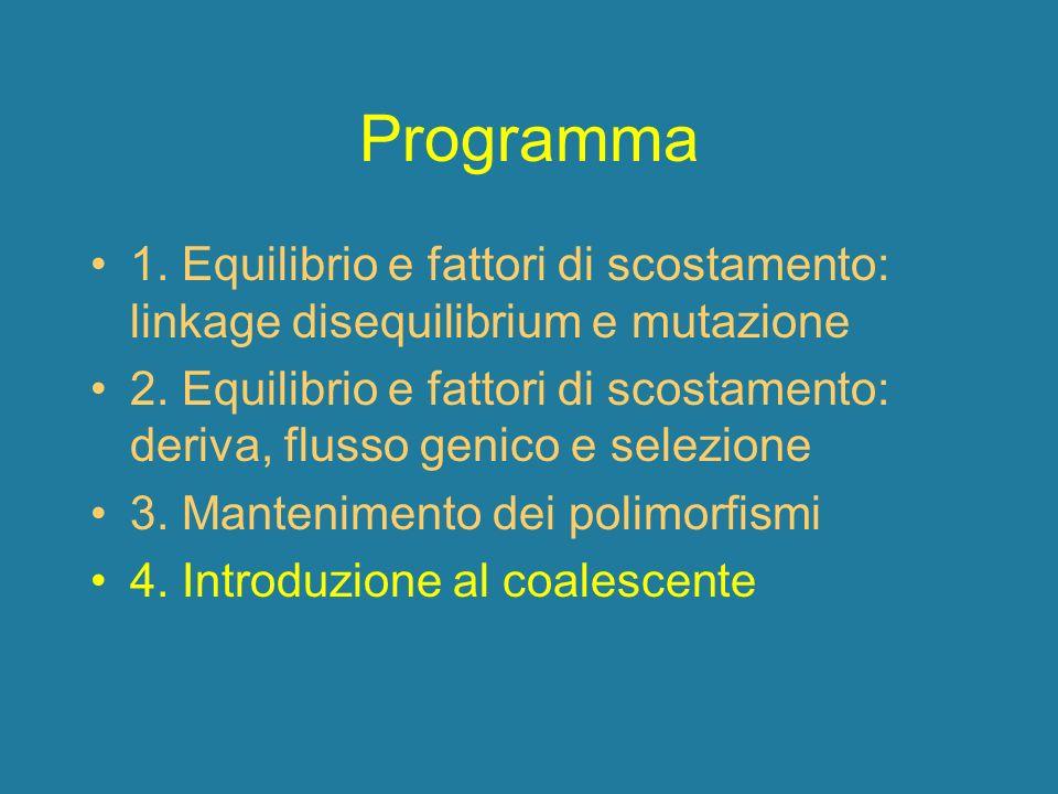 Programma 1. Equilibrio e fattori di scostamento: linkage disequilibrium e mutazione.