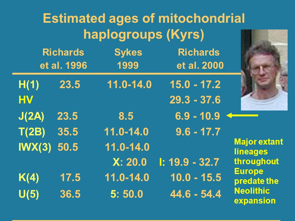 Estimated ages of mitochondrial haplogroups (Kyrs)