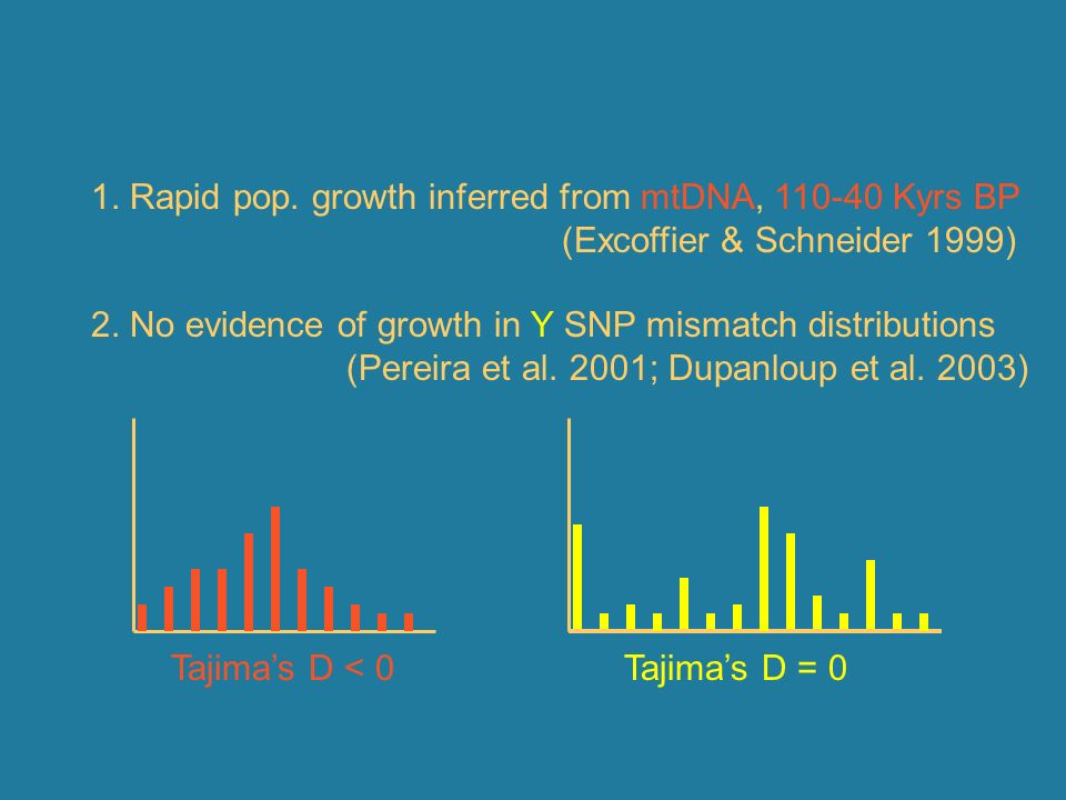1. Rapid pop. growth inferred from mtDNA, 110-40 Kyrs BP
