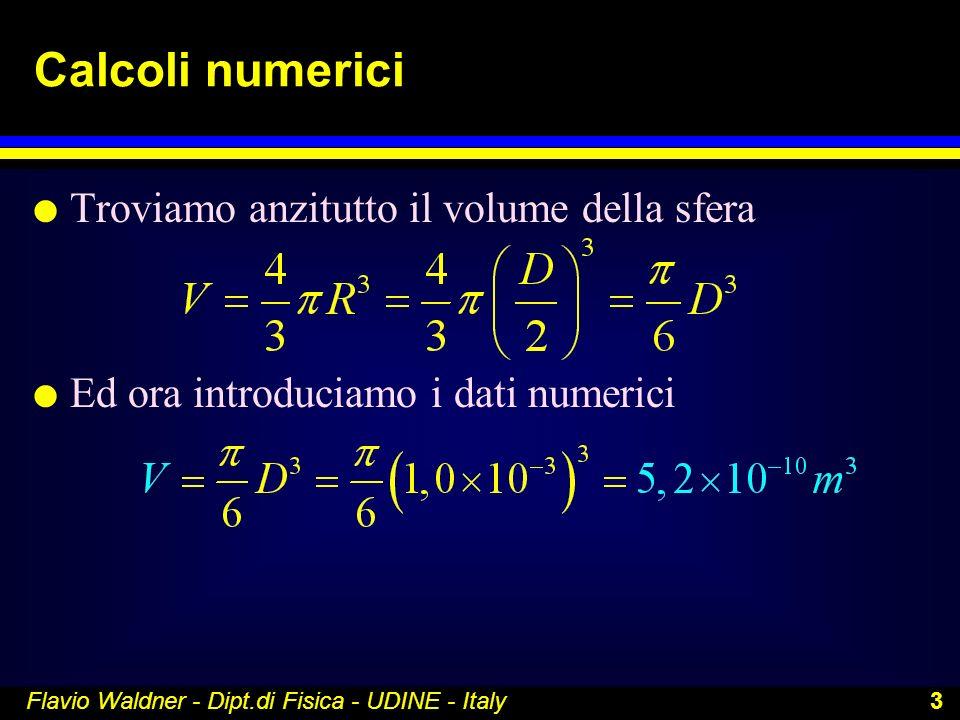 Calcoli numerici Troviamo anzitutto il volume della sfera