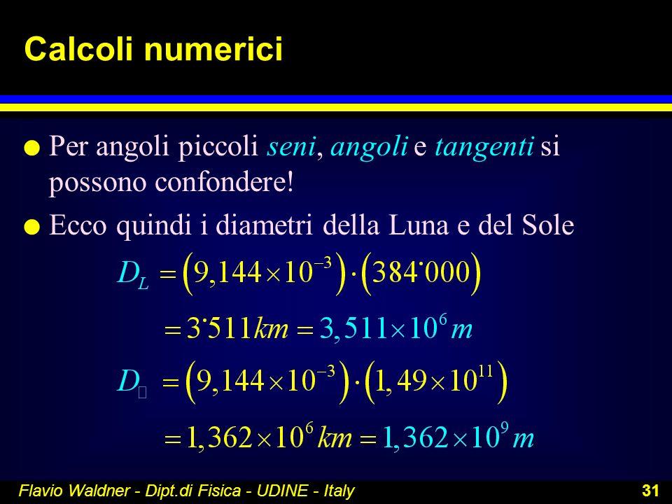 Calcoli numerici Per angoli piccoli seni, angoli e tangenti si possono confondere! Ecco quindi i diametri della Luna e del Sole.