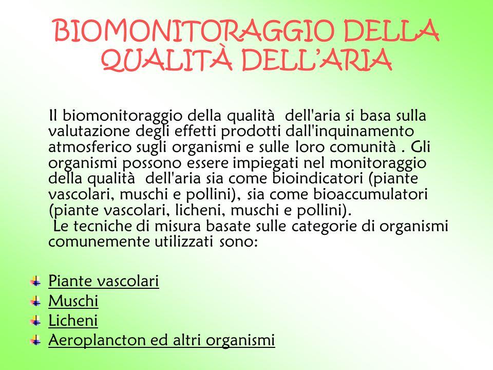 BIOMONITORAGGIO DELLA QUALITÀ DELL'ARIA