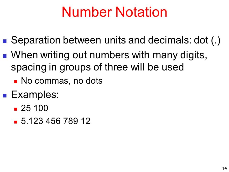 Number Notation Separation between units and decimals: dot (.)