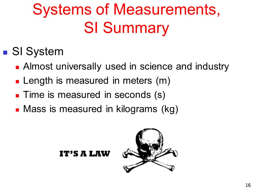 Systems of Measurements, SI Summary