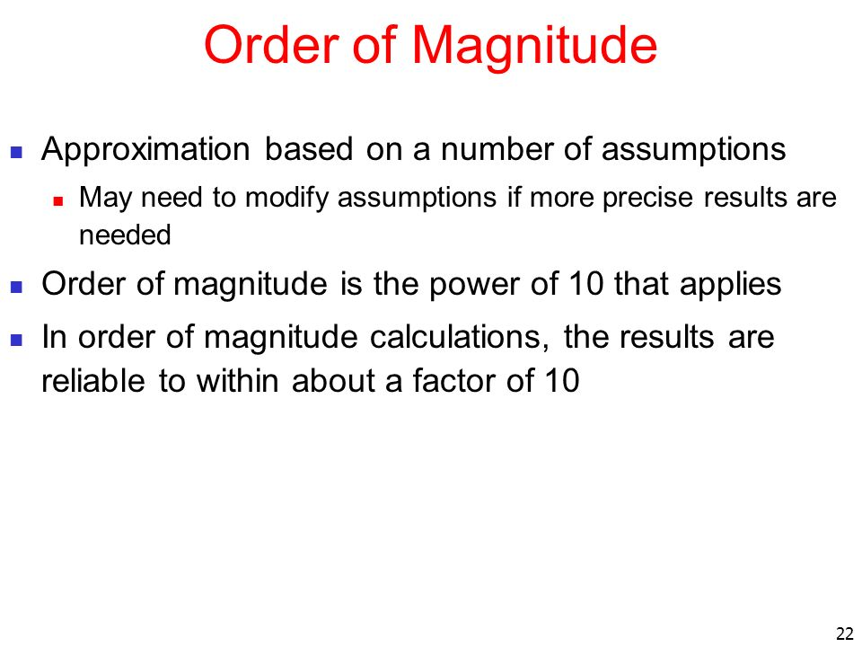 Order of Magnitude Approximation based on a number of assumptions
