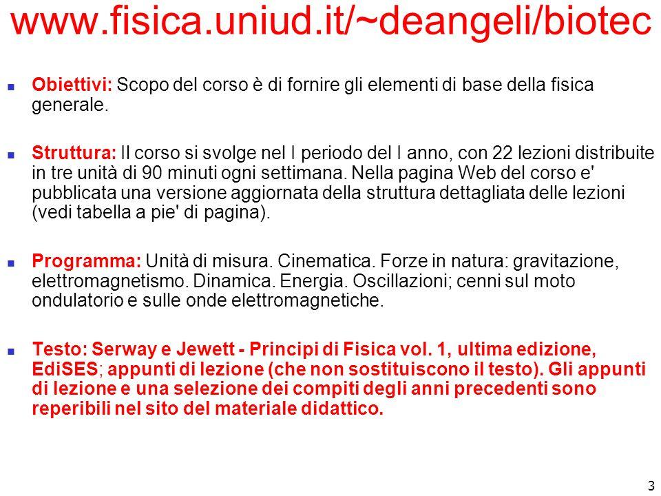 www.fisica.uniud.it/~deangeli/biotec Obiettivi: Scopo del corso è di fornire gli elementi di base della fisica generale.