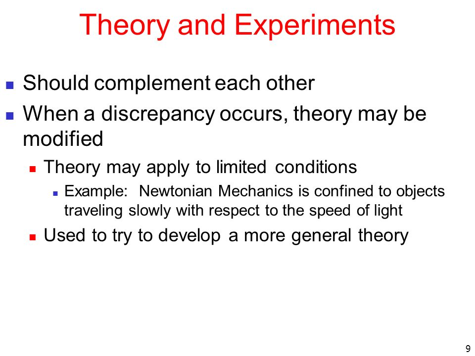 Theory and Experiments
