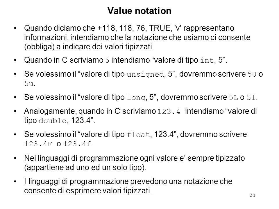 Value notation