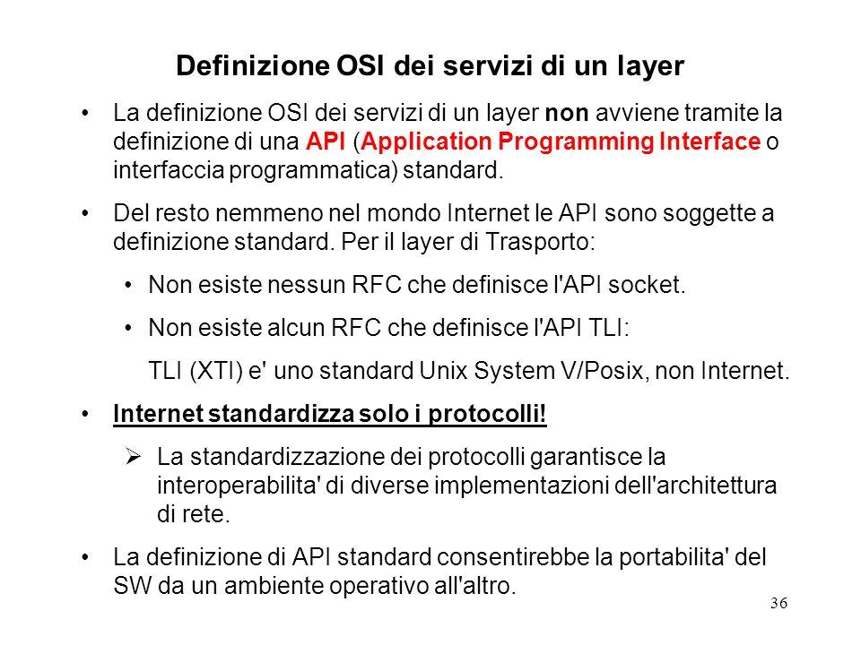 Definizione OSI dei servizi di un layer