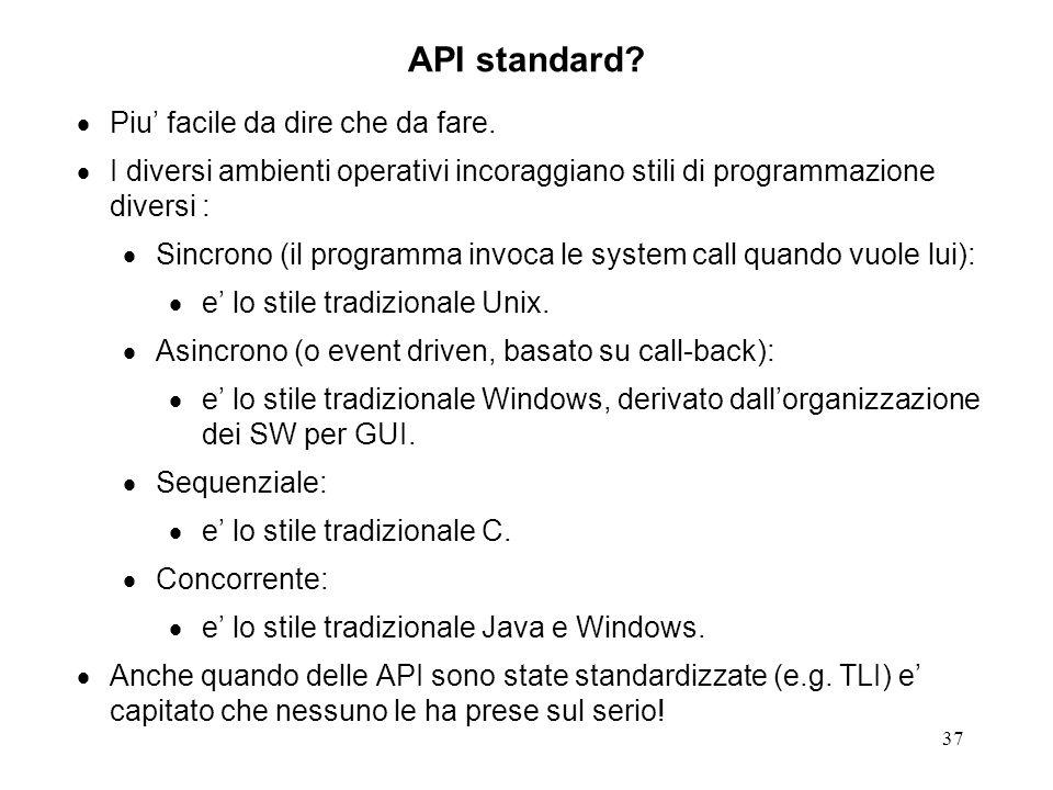 API standard Piu' facile da dire che da fare.