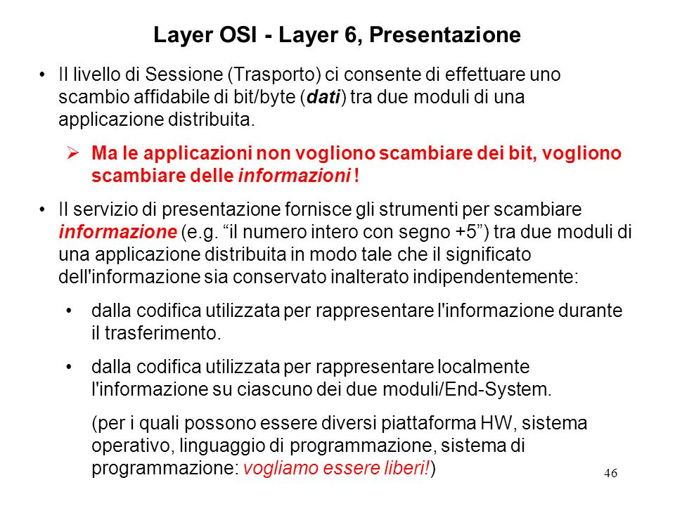Layer OSI - Layer 6, Presentazione