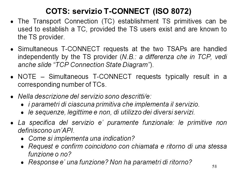 COTS: servizio T-CONNECT (ISO 8072)