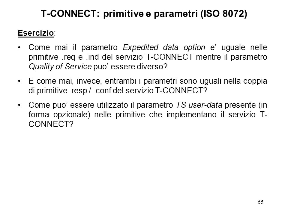 T-CONNECT: primitive e parametri (ISO 8072)
