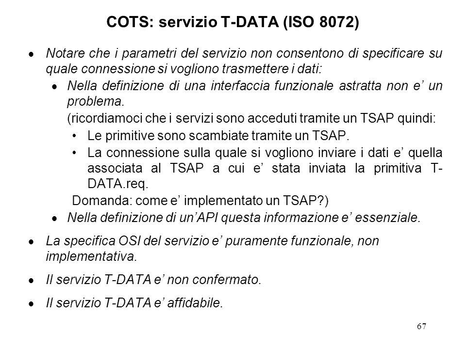 COTS: servizio T-DATA (ISO 8072)