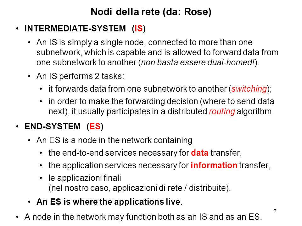Nodi della rete (da: Rose)