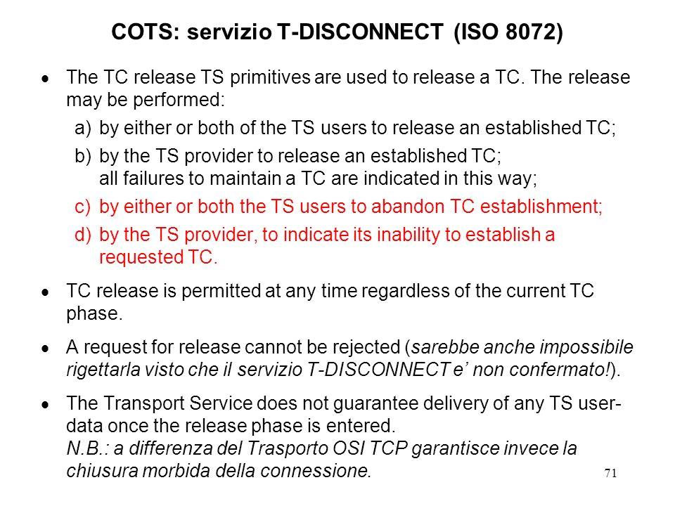 COTS: servizio T-DISCONNECT (ISO 8072)