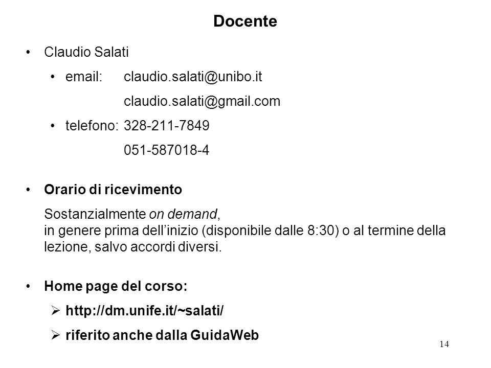 Docente Claudio Salati email: claudio.salati@unibo.it