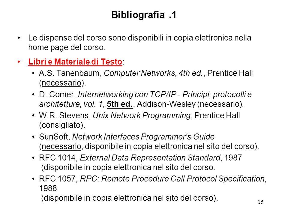 Bibliografia .1 Le dispense del corso sono disponibili in copia elettronica nella home page del corso.