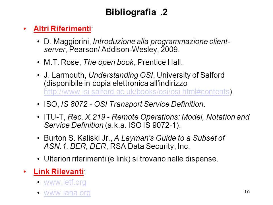 Bibliografia .2 Altri Riferimenti: