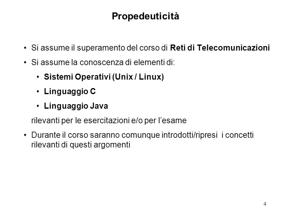 Propedeuticità Si assume il superamento del corso di Reti di Telecomunicazioni. Si assume la conoscenza di elementi di:
