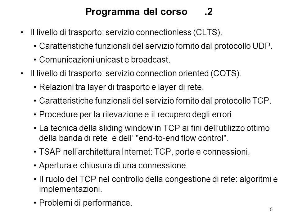 Programma del corso .2 Il livello di trasporto: servizio connectionless (CLTS). Caratteristiche funzionali del servizio fornito dal protocollo UDP.