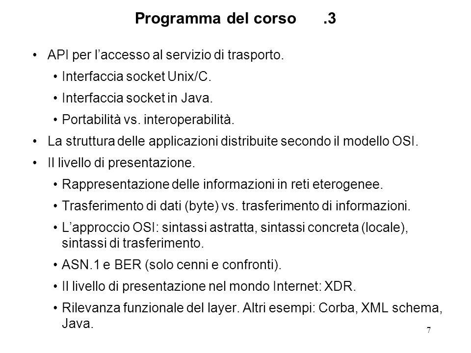 Programma del corso .3 API per l'accesso al servizio di trasporto.