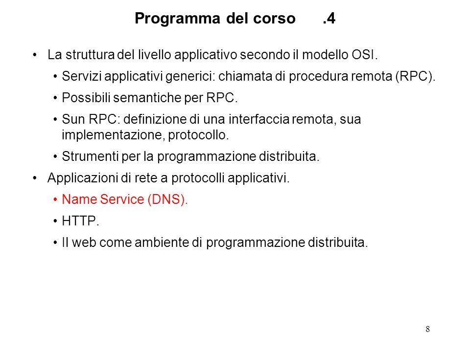 Programma del corso .4 La struttura del livello applicativo secondo il modello OSI.