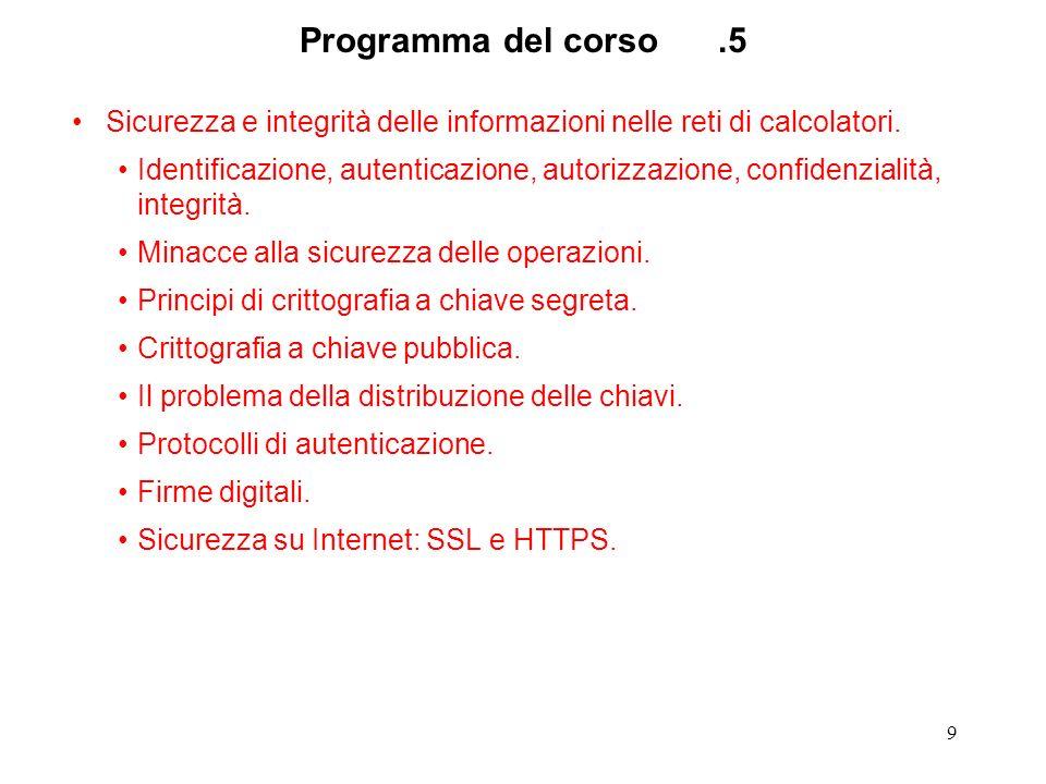Programma del corso .5 Sicurezza e integrità delle informazioni nelle reti di calcolatori.