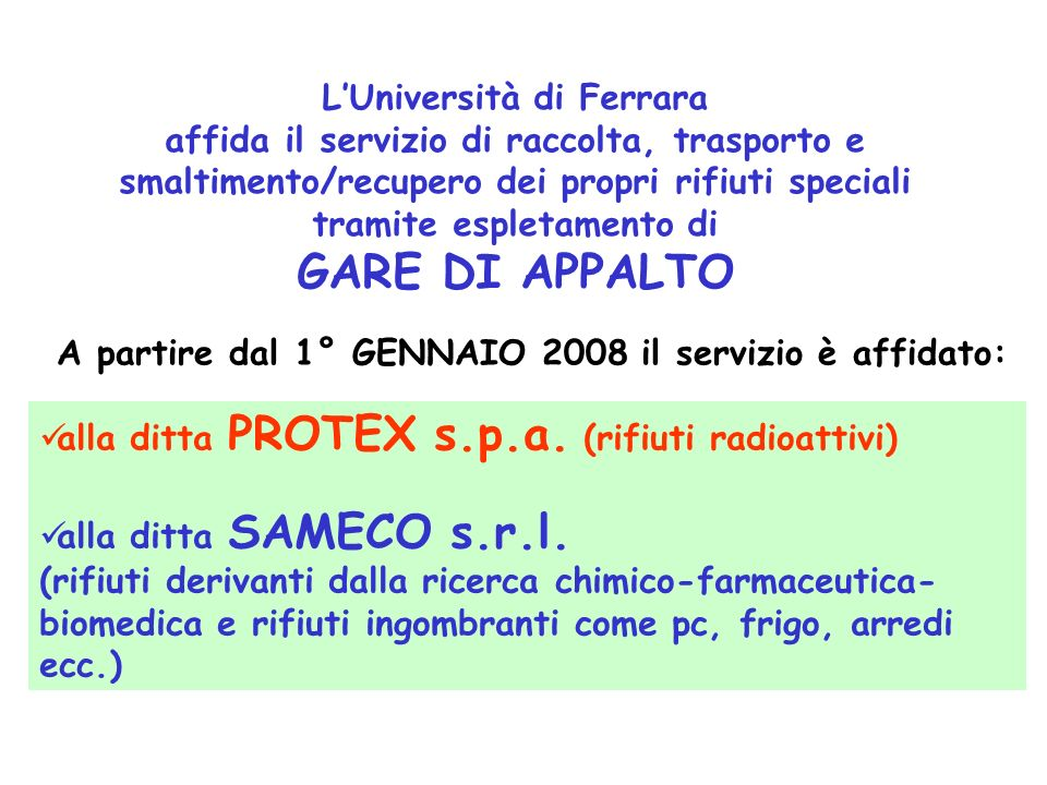 GARE DI APPALTO L'Università di Ferrara