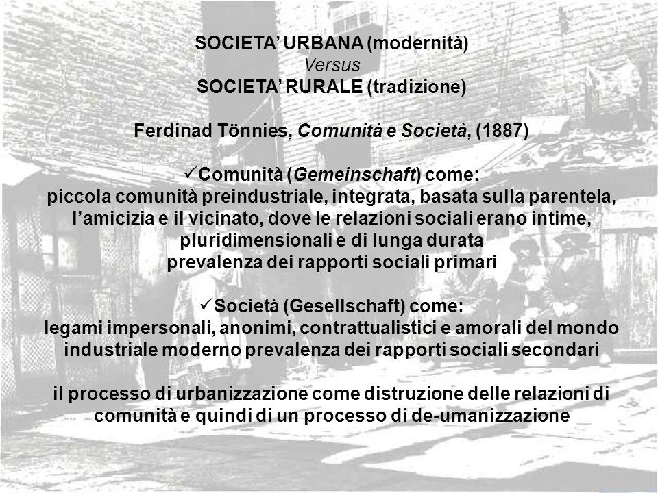 SOCIETA' URBANA (modernità) Versus SOCIETA' RURALE (tradizione)