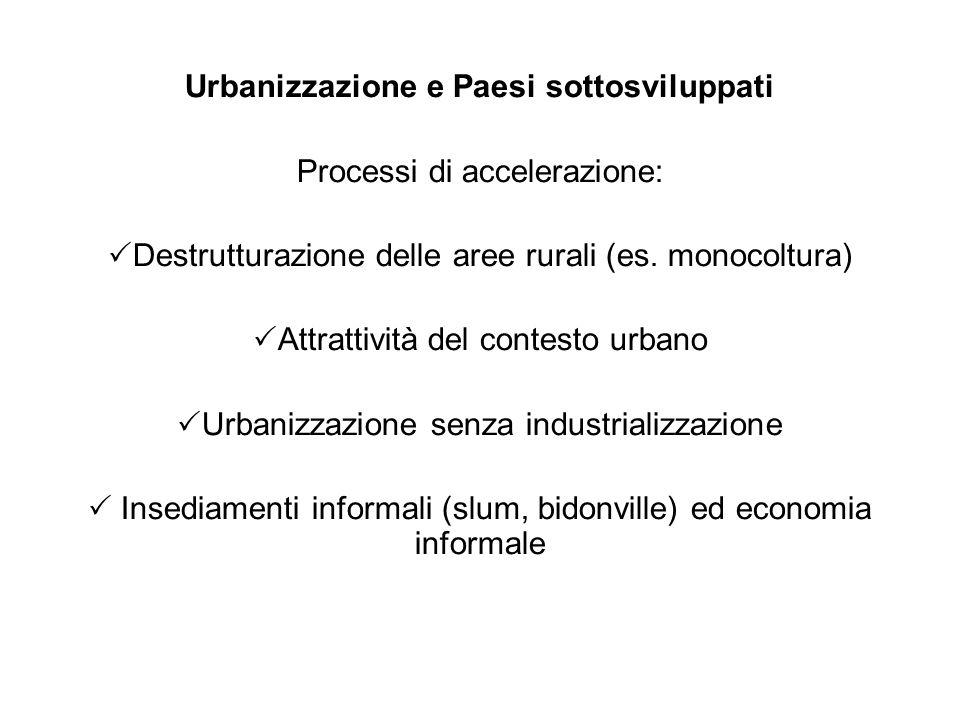 Urbanizzazione e Paesi sottosviluppati Processi di accelerazione: