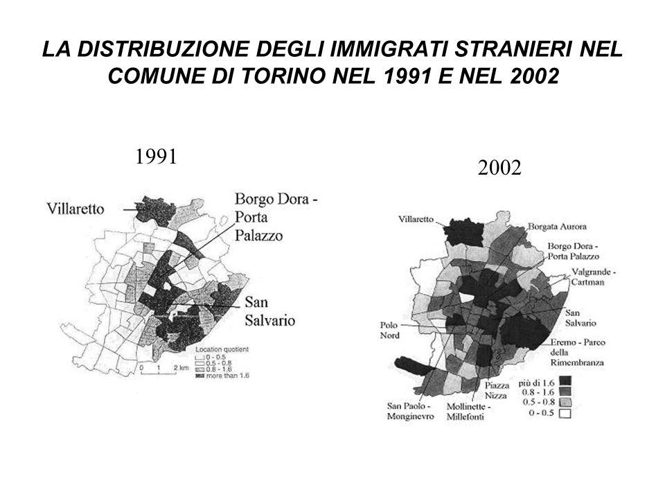 LA DISTRIBUZIONE DEGLI IMMIGRATI STRANIERI NEL COMUNE DI TORINO NEL 1991 E NEL 2002