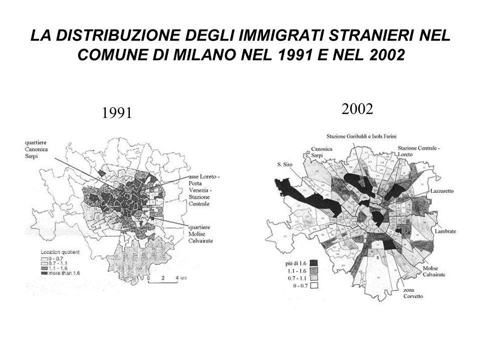 LA DISTRIBUZIONE DEGLI IMMIGRATI STRANIERI NEL COMUNE DI MILANO NEL 1991 E NEL 2002