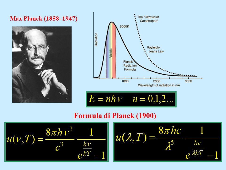 Max Planck (1858 -1947) Formula di Planck (1900)