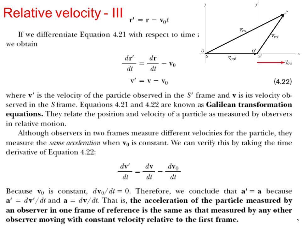 Relative velocity - III