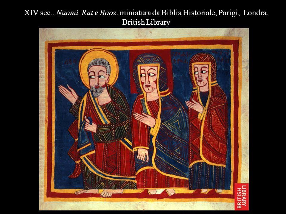 XIV sec., Naomi, Rut e Booz, miniatura da Biblia Historiale, Parigi, Londra, British Library