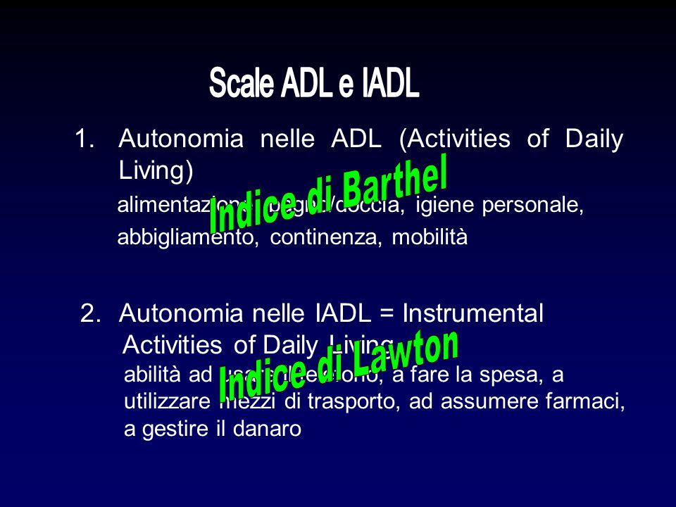 Autonomia nelle ADL (Activities of Daily Living) Indice di Barthel