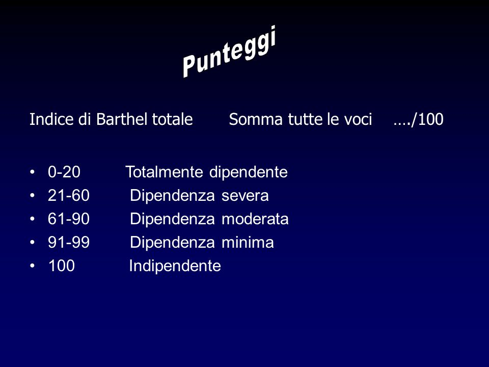 Punteggi Indice di Barthel totale Somma tutte le voci …./100
