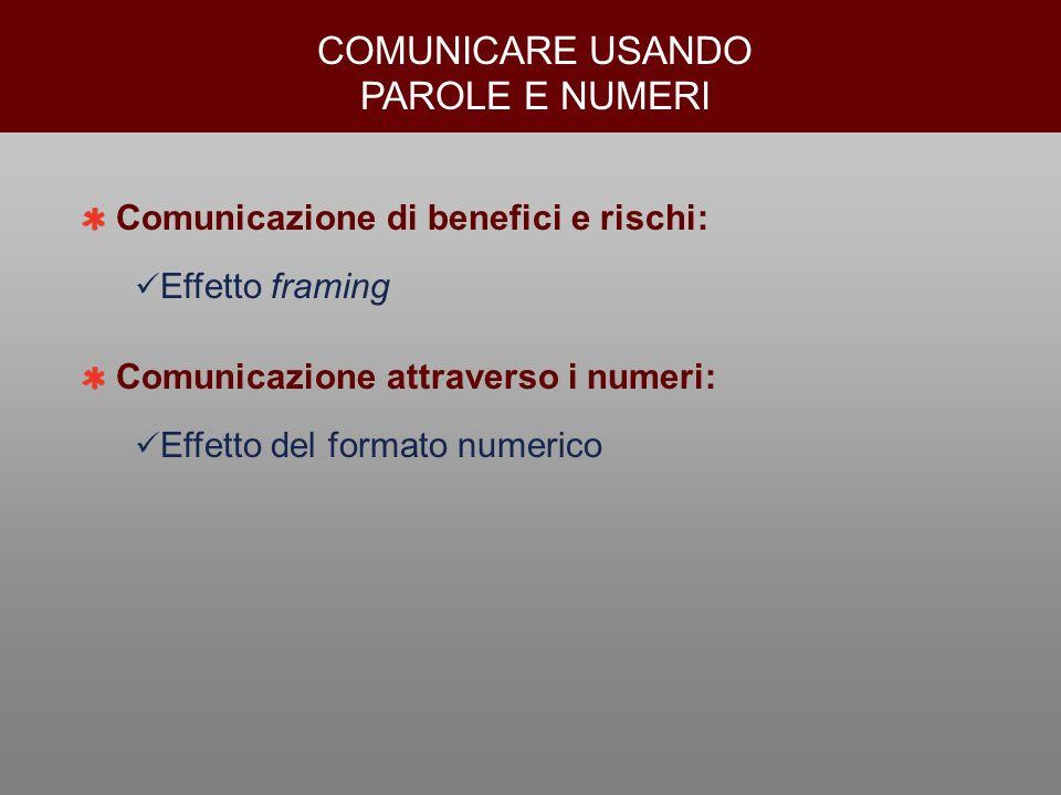 COMUNICARE USANDO PAROLE E NUMERI Comunicazione di benefici e rischi:
