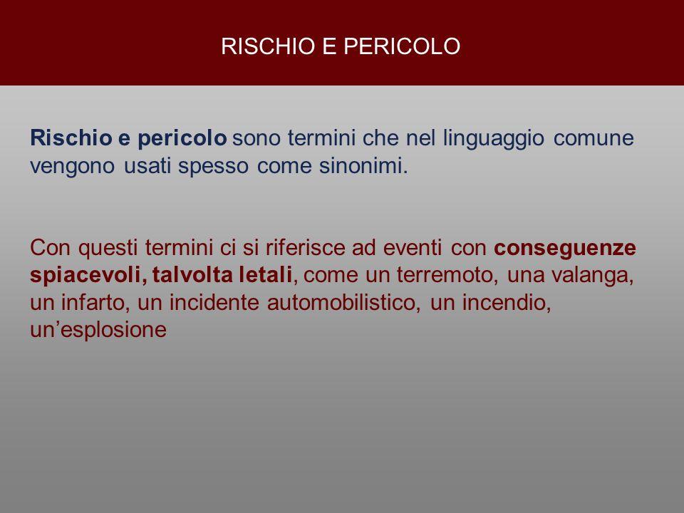 RISCHIO E PERICOLORischio e pericolo sono termini che nel linguaggio comune vengono usati spesso come sinonimi.