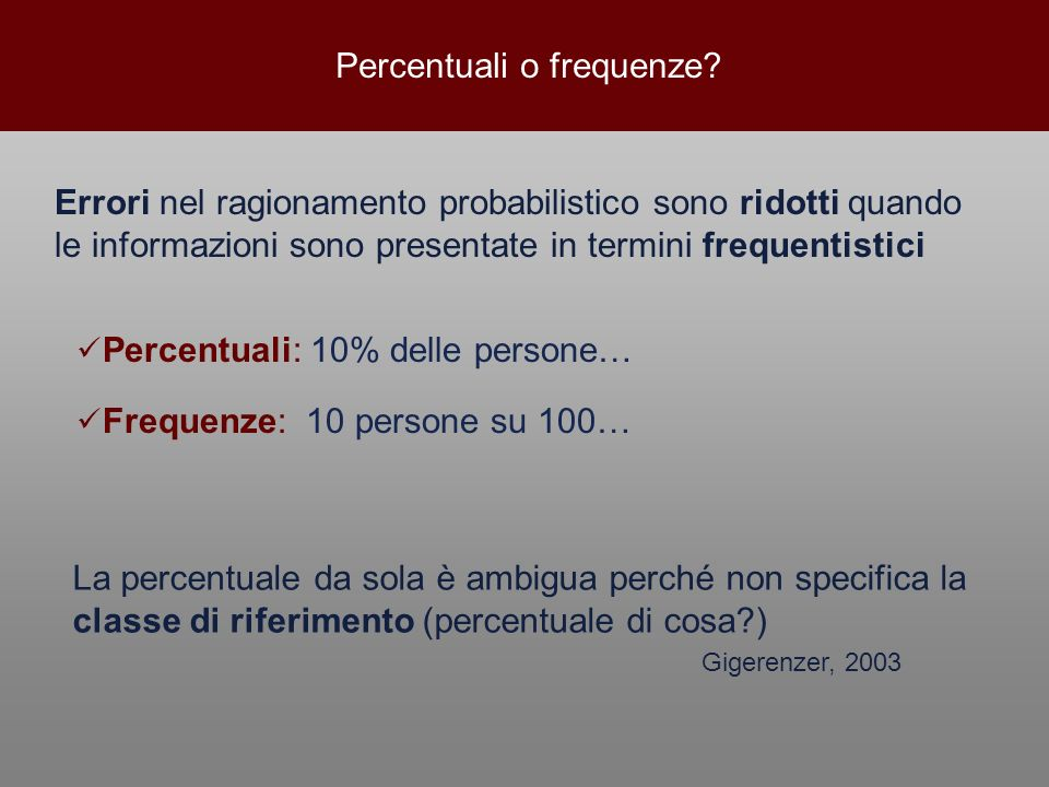Percentuali o frequenze