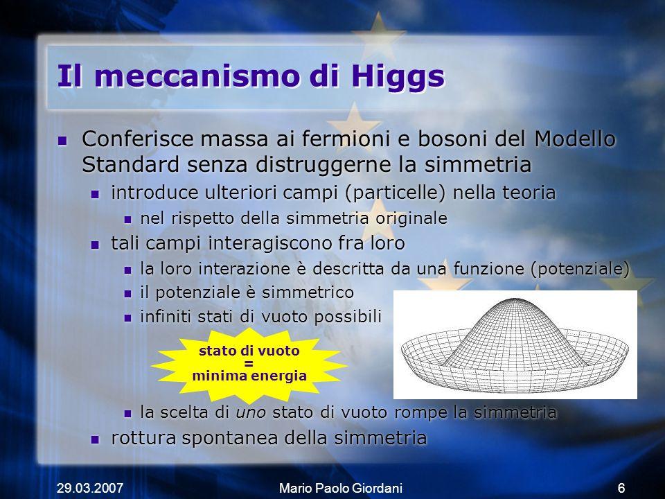 Il meccanismo di Higgs Conferisce massa ai fermioni e bosoni del Modello Standard senza distruggerne la simmetria.