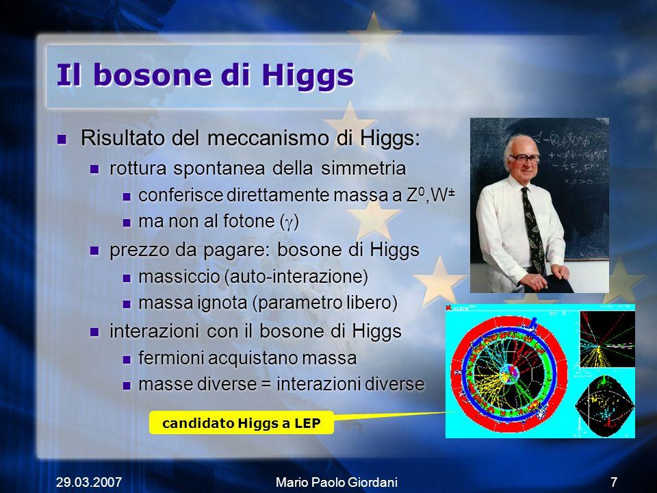 Il bosone di Higgs Risultato del meccanismo di Higgs: