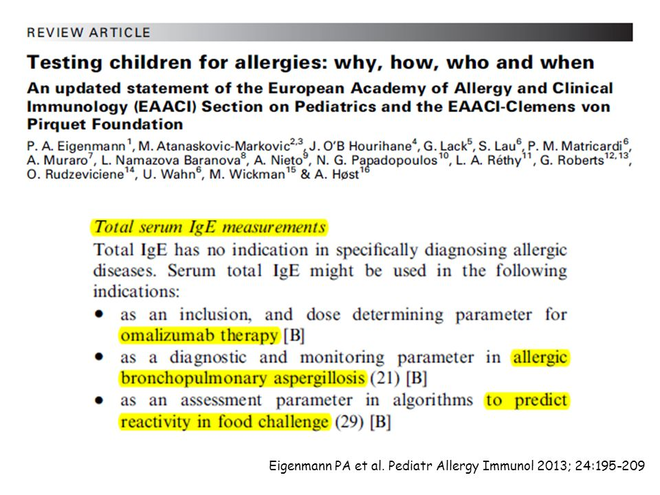 Eigenmann PA et al. Pediatr Allergy Immunol 2013; 24:195-209