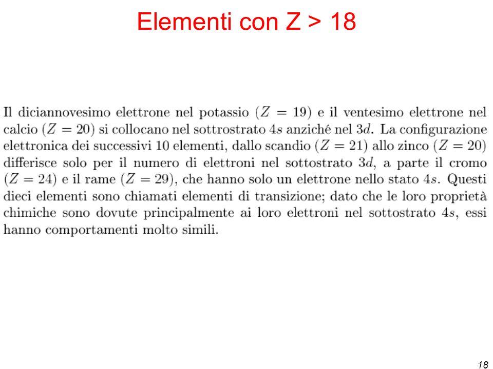 Elementi con Z > 18