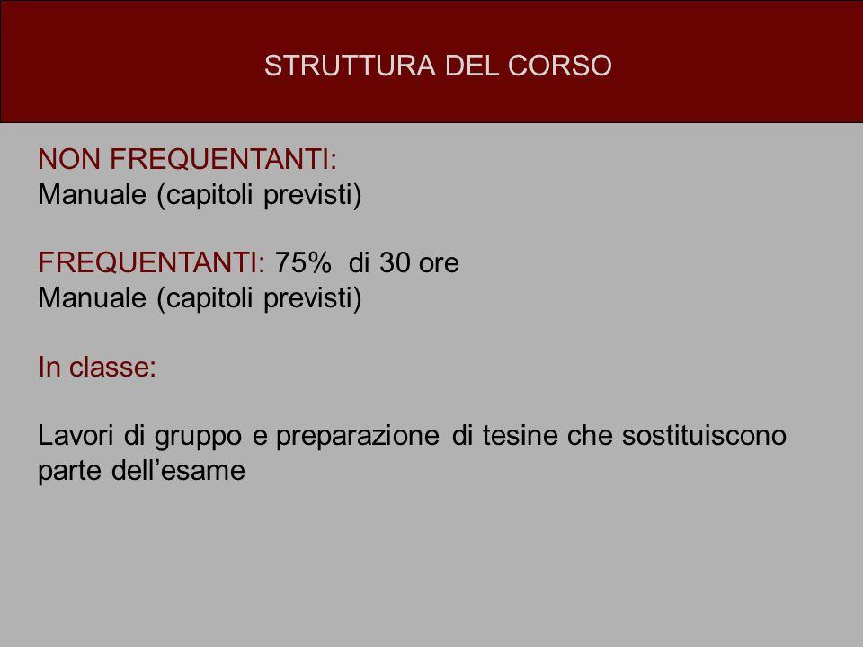 STRUTTURA DEL CORSO NON FREQUENTANTI: Manuale (capitoli previsti) FREQUENTANTI: 75% di 30 ore. In classe: